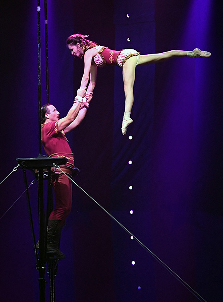 Russian Cradle Act Les Incredibles Perform in CIRCUS 1903 at Paris Las Vegas Ethan Miller