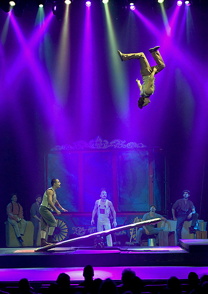 Teeterboard Act The Flying Finns Perform in CIRCUS 1903 at Paris Las Vegas Ethan Miller 2