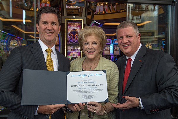 Greg Stevens, Mayor Carolyn Goodman, and Derek Stevens - Photo credit Tom Donoghue Photography