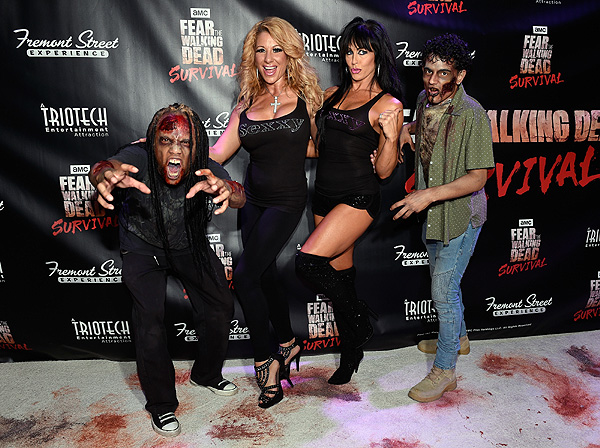 Zombies and members of SEXXY at the Grand Opening of Fear the Walking Dead Survival at FSE in Las Vegas credit Las Vegas News Bureau
