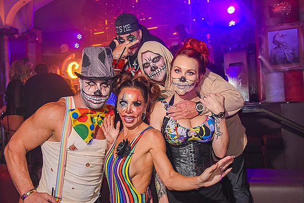 Partiers dressed as sideshow acts during XIV Freakshow at Hyde Bellagio 10.31.17