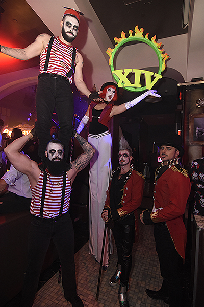 Stilt walkers ringmasters and acrobats took over Hyde Bellagio during XIV Freakshow 10.31.17