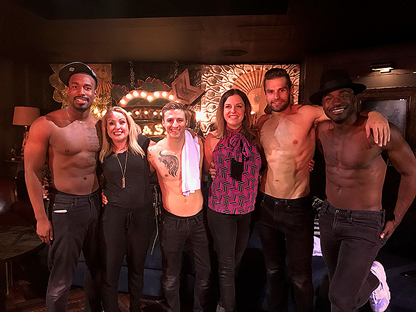 Comedians Kristin Hensley and Jen Smedley with a few of the MAGIC MIKE LIVE performers
