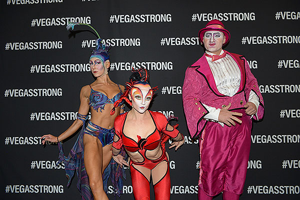 Performers from Cirque du Soleils Mystere at Vegas Strong Benefit Concert