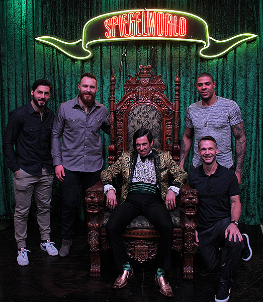 Pittsburgh Penguins Kris Letang Ian Cole and Ryan Reaves attend ABSINTHE at Caesars Palace Credit JosephSanders Spiegelworld