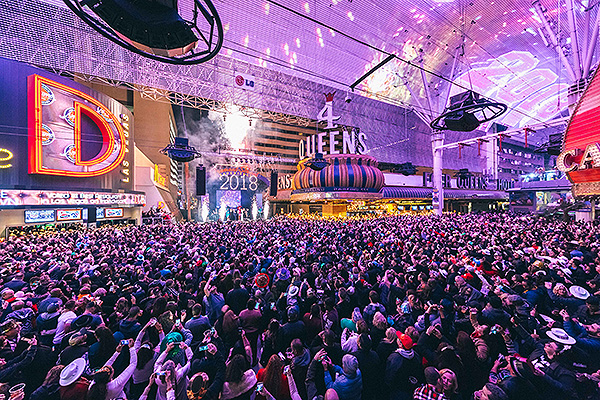 Pyrotechnics light up the 3rd Street Stage as the clock strikes midnight on NYE during Americas Party Downtown at Fremont Street Experience 12.31.17