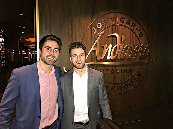 vegas golden knights players shea theodore alex tuch dine inside andiamo italian steakhouse las vegas