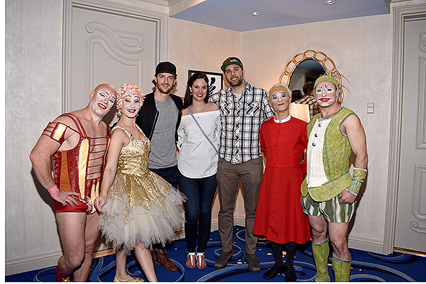Vegas Golden Knights defenseman Colin Miller poses with friends during meet and greet with talented O artists on Sunday Feb. 18