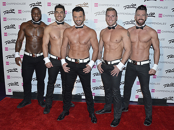 Tony Dovolani (center) with cast of Chippendales - Photo credit: Stephen Thorburn