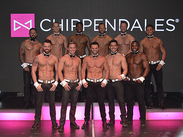 Tony Dovolani (center) with the full cast of Chippendales - Photo credit: Stephen Thorburn