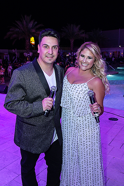 VIP Hosts Joanna and Marco enjoy the Black White. Credit Amit Dadlaney