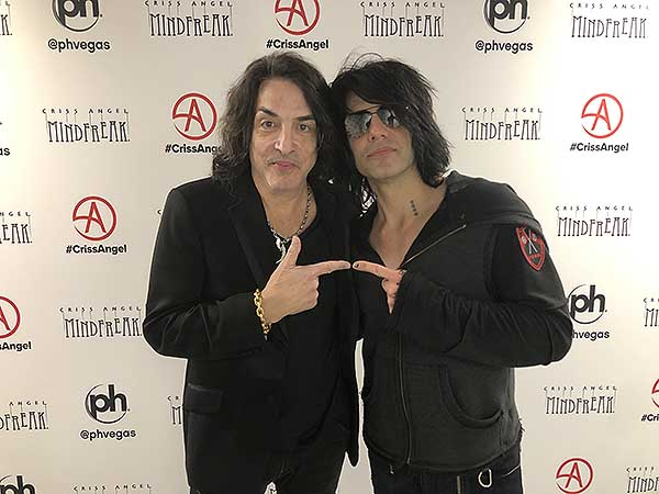 Paul Stanley Poses with Criss Angel after MINDFREAK Show at Planet Hollywood Jan. 12