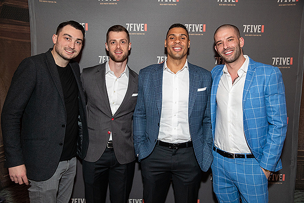 Adam Coates Ryan Reaves and Darcy Oake celebrate the launch of 7Five Brewing Co. at Hyde Bellagio in Las Vegas 2.23.19