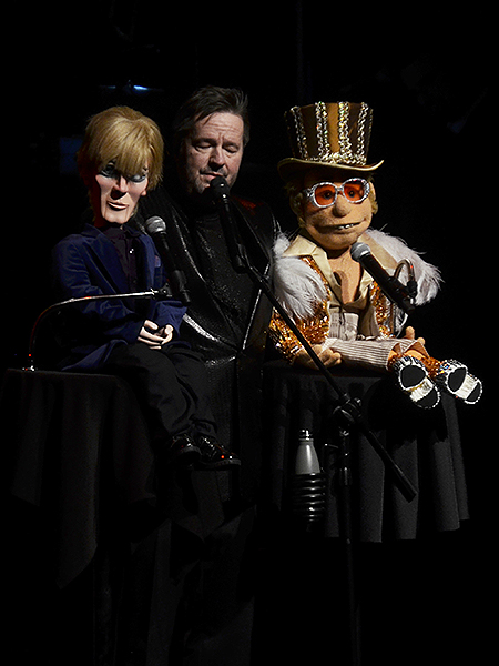 Terry Fator with puppets David Bowie and Elton John - Photo credit: Stephen Thorburn