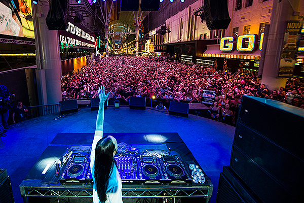 Steve Aoki takes over Fremont Street Experience to celebrate the worldwide premiere of his Viva Vision light show 6.13.19