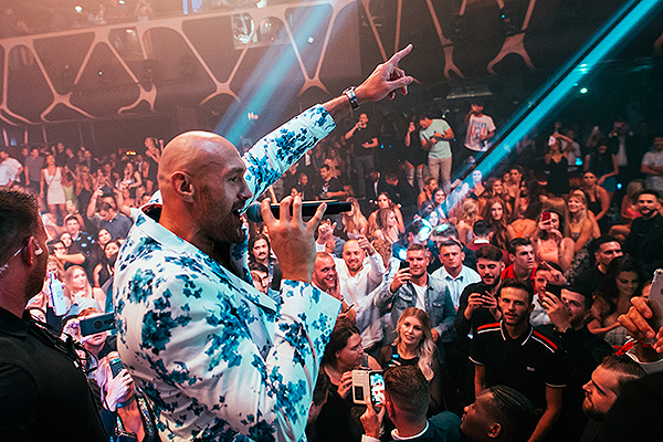 Tyson Fury Addresses the Crowd at His Official After Party at Hakkasan Nightclub Inside MGM Grand Hotel Casino Photo Credit Wolf Productions