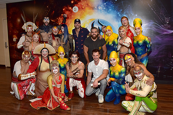 Jason Dohring and James Maslow pose with the cast of KÀ by Cirque du Soleil Aug. 24