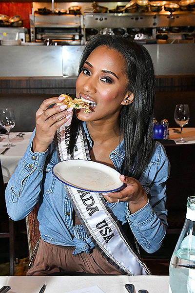 Miss Nevada Tasting Pizza Joe Durkin