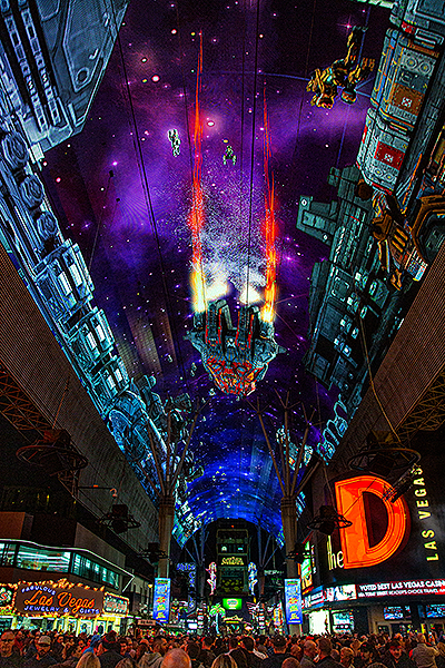 Revitalized Viva Vision Canopy Illuminates Fremont Street Experience in Downtown Las Vegas credit Black Raven Films for Fremont Street Experience