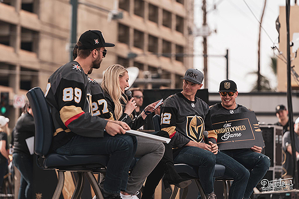 Alex Tuch Stormy Buonantony Nick Holden and Nate Schmidt Play Newlywed Game