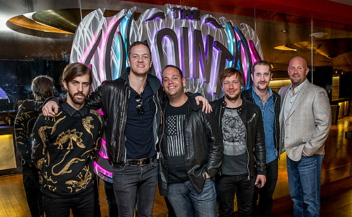 12.30.13 Imagine Dragons joined by Bobby Reynolds of AEG Live 3rd from L and Chas Smith of Hard Rock Hotel far R
