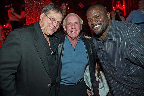 Chicago Bears Steve McMichael World Famous wrestler Ric Flair with NFL Hall of Famer Lawrence Taylor of the NY Giants at TAO