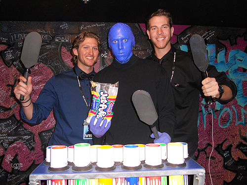 Jake Hager and Nick Kingham with Blue Man Group 02.01.13