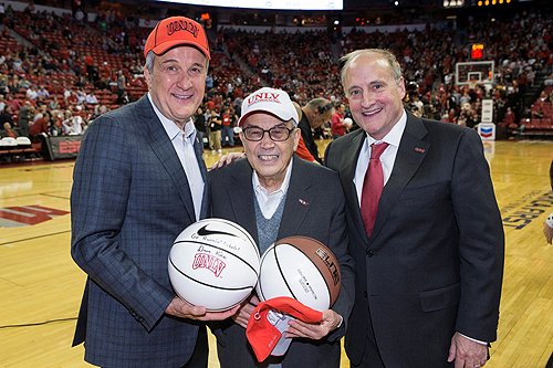 Larry Ruvo Dr. Jerry Vallen and Dean Stowe Shoemaker at UNLV basketball game 2.19.14