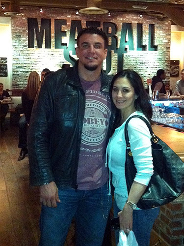 Frank Mir and his wife at Meatball Spot