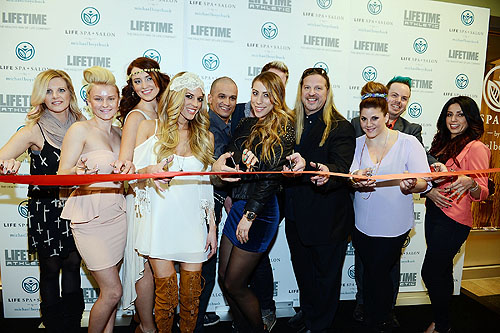 Michael Boychuck and LifeSpa Stylists Cut Red Ribbon