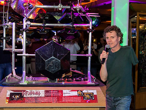 3.21.13 Rick Allen of Def Leppard Explains His Drum Kits Significance to Fans at Hard Rock Hotel Casino credit Erik Kabik