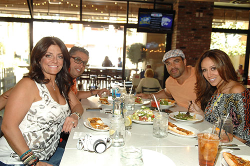 Kathy and Richard Wakile and Joe and Melissa Gorga at Meatball Spot