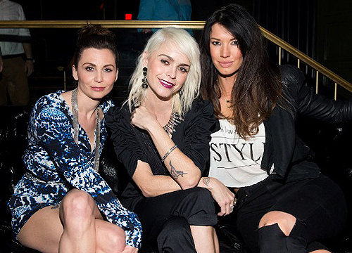 03.21 L to R Jeanine Heller Taryn Manning Britany Brower at Body English Nightclub Hard Rock Hotel and Casino Las Vegas Photo credit Erik Kabik