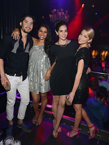 03.29 L to R Jeremy Davison Jennifer Bush Katie Maloney and Stassi Schroeder at Body English Nightclub Hard Rock Hotel and Casino Photo credit Scott Harrison