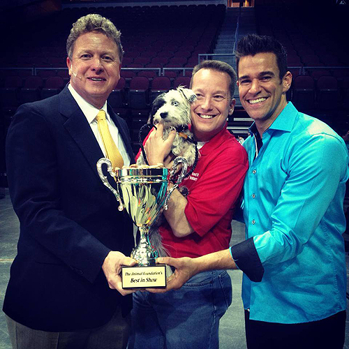The Animal Foundations 11th Annual Best In Show Winner Jackson poses with his trophy Las Vegas 4.27.14