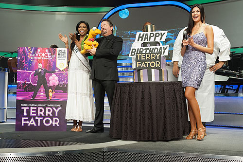 Miss USA Nana Meriwether Terry Fator and Taylor Makakoa by Patrick Prather Miss Universe Organization