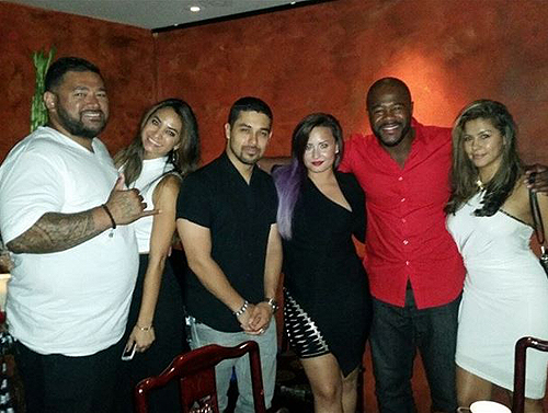Wilmer Valderrama Demi Lovato and Rashad Evans at TAO