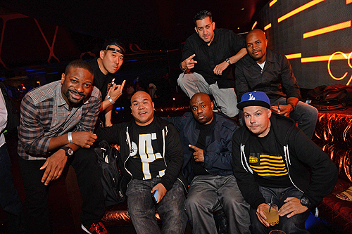 DJs Back -Irie Crooked Melo D D-Nice Front - DJs Five Homicide and Fashen VIP booth Hakkasan Las Vegas