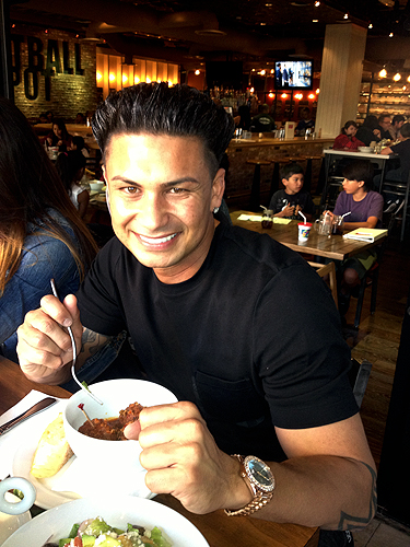 DJ Pauly D dining at Meatball Spot