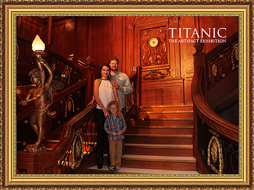 Rose and family pose on the Grand Staircase at Titanic The Artifact Exhibition