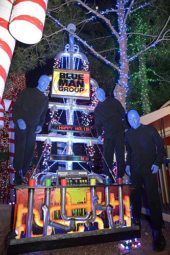 10.9.13 Blue Man Group Las Vegas Poses with Tree at Opportunity Villages Magical Forest photo credit Paul Smith Las Vegas Photo and Video 3