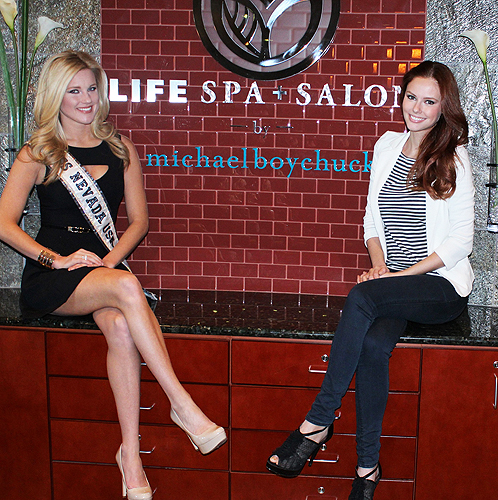 Miss Nevada USA Chelsea Caswell and Miss USA 2011 Alyssa Campanella at LifeSpa  Salon by Michael Boychuck