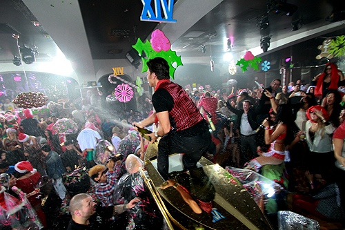 Apollo Anton Ohno sprays champagne at XIV Vegas Sessions at Hyde Bellagio