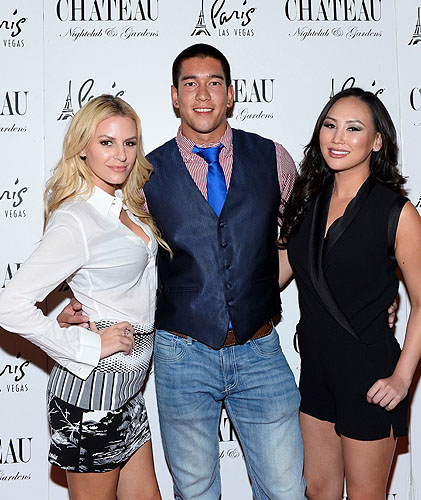 Chateau Morgan Stewart Dorothy Wang and Christopher Dewitt Pose on the Red Carpet at Chateau Nightclub and Rooftop Bryan Steffy