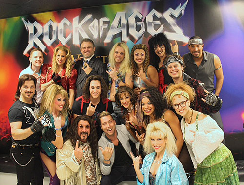 Lance Bass with cast of ROCK OF AGES at The Ventian Las Vegas