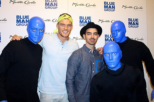 Alan Ritchson and Joe Jonas at Blue Man Group Las Vegas inside Monte Carlo Resort and Casino