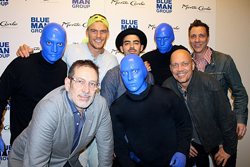 Phil Stanton Alan Ritchson Joe Jonas Chris Wink and Randall Jaynes at Blue Man Group Las Vegas inside Monte Carlo Resort and Casino