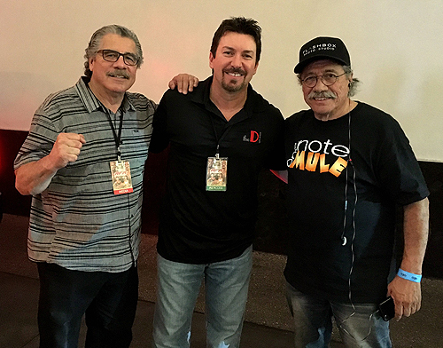 Actor Edward James Olmos and Cutman Jacob Stitch Duran with Richard Wilk at the D