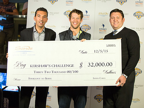 Sands Cares Presents Check to Clayton Kershaw