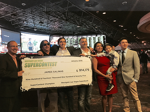 James Salinas receives check from Super Contest